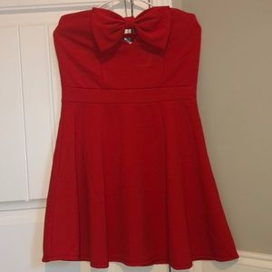 Red strapless fit and flare dress